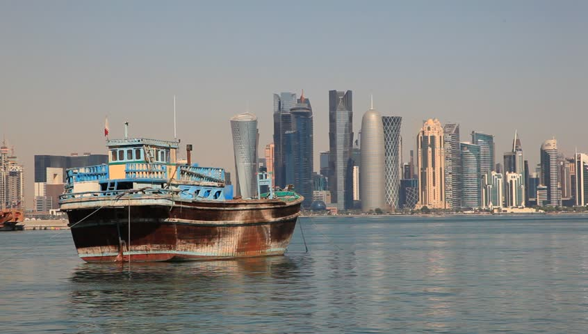 Traditional Arabic dhow and skyline of Doha downtown in Qatar, Middle East  | Shutterstock HD Video #13091501