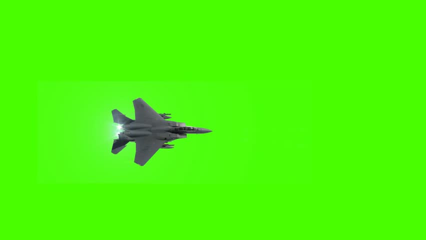 Fighter Jet  Shoots Missiles on a Green Screen Background