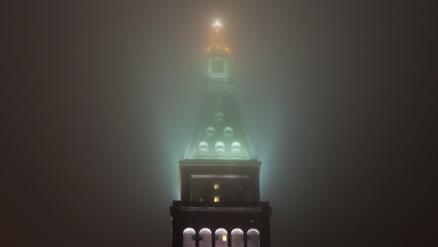 Time lapse close up shot of Metropolitan Life Insurance tower in mist at night, Manhattan, New York, USA   Shutterstock HD Video #13149299