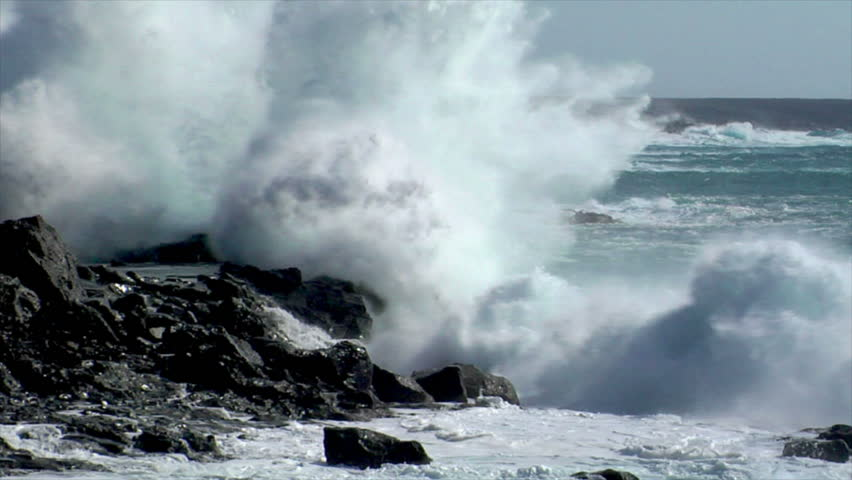 extreme wave crushing vulcan coast - HD stock footage clip
