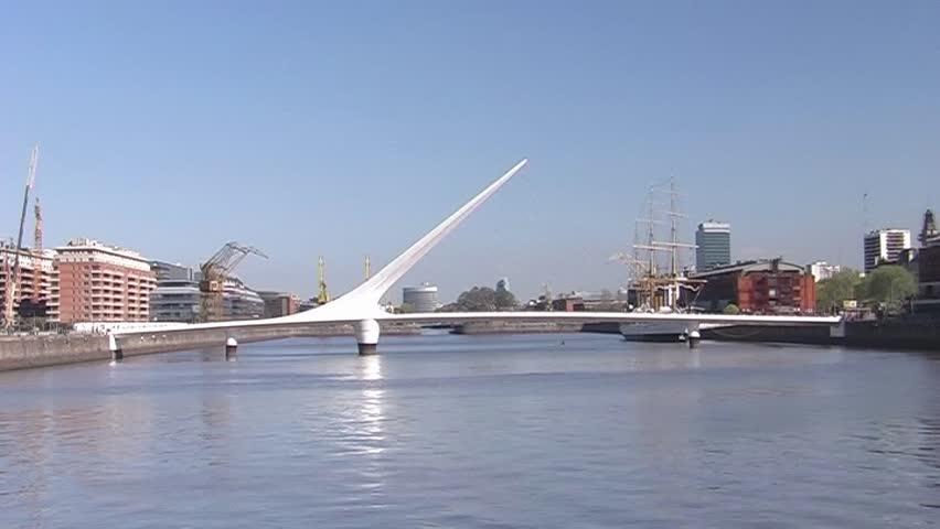 """Puente de la Mujer"", a  modern footbridge in Puerto Madero, Buenos Aires (Arg.) - SD 16:9, Panasonic NV-GS 500 (3 CCD)  - SD stock footage clip"