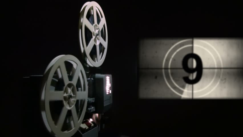Old projector showing film. Universal film leader.  - 4K stock video clip