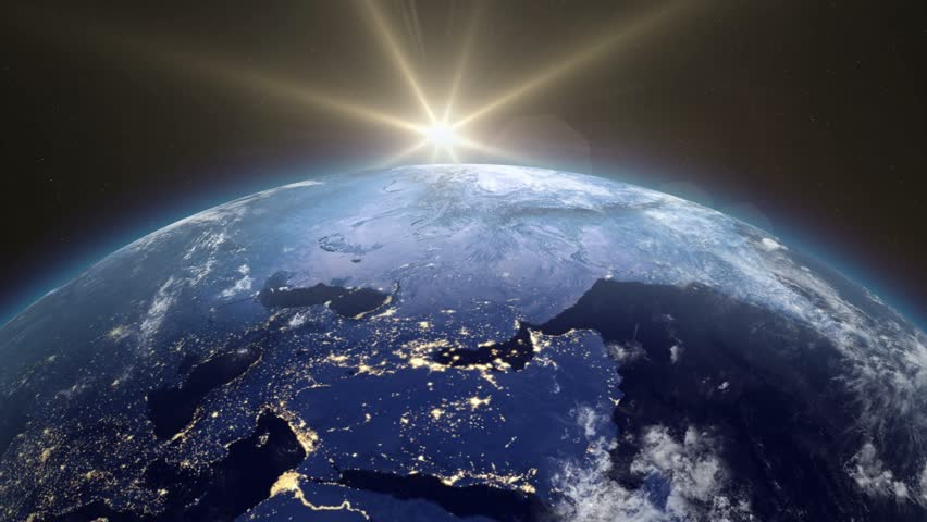 Beautiful Sunrise Over The Earth. The transition from night to day. Sunrise From Space. Earth From Space. v.2.   Shutterstock HD Video #13210112