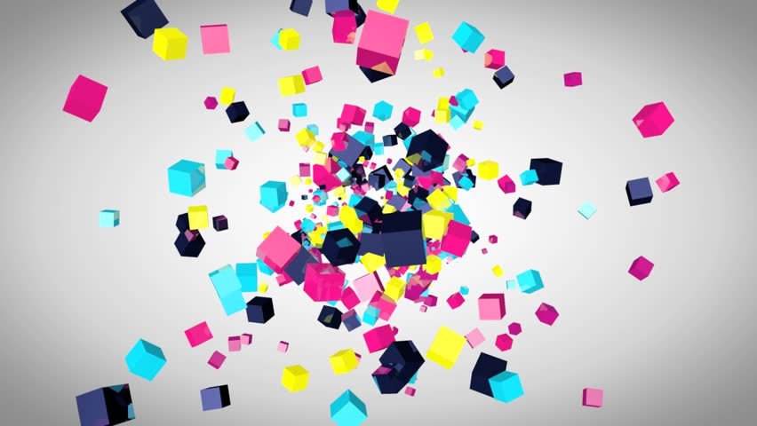 Abstract video animation with colored 3d cubes, flying particles, screen saver with cube design, party design, flying cubes, cubes explosion, rendered animation | Shutterstock HD Video #13218401