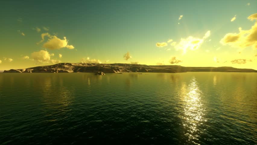 Tropical island,camera fly over sea, time lapse sunrise