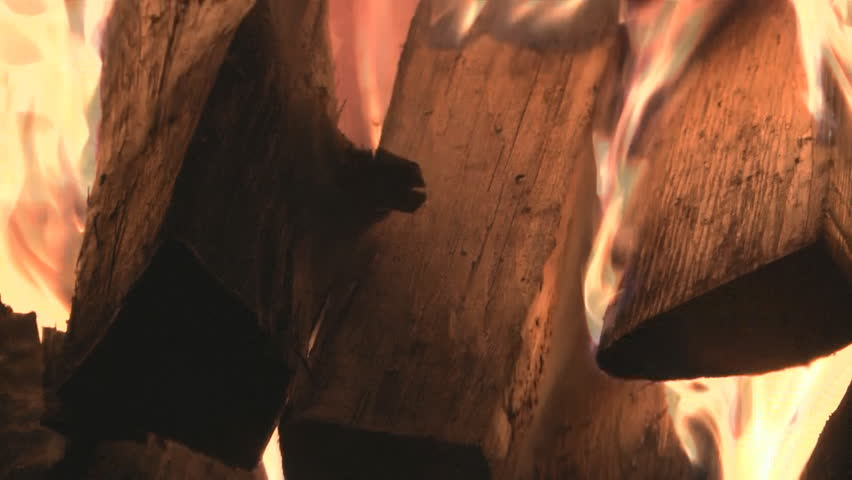 HD close-up background of burning fire wood. - HD stock video clip