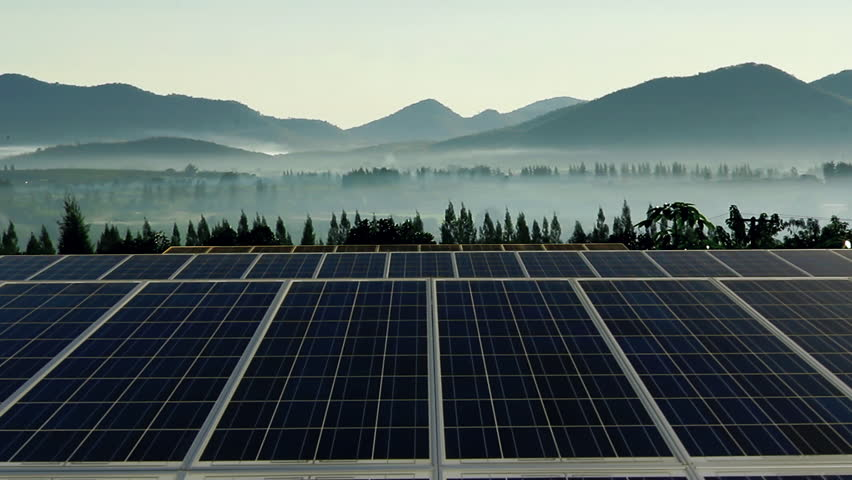 Solar Farm With Sunrise Time Lapse Stock Footage Video