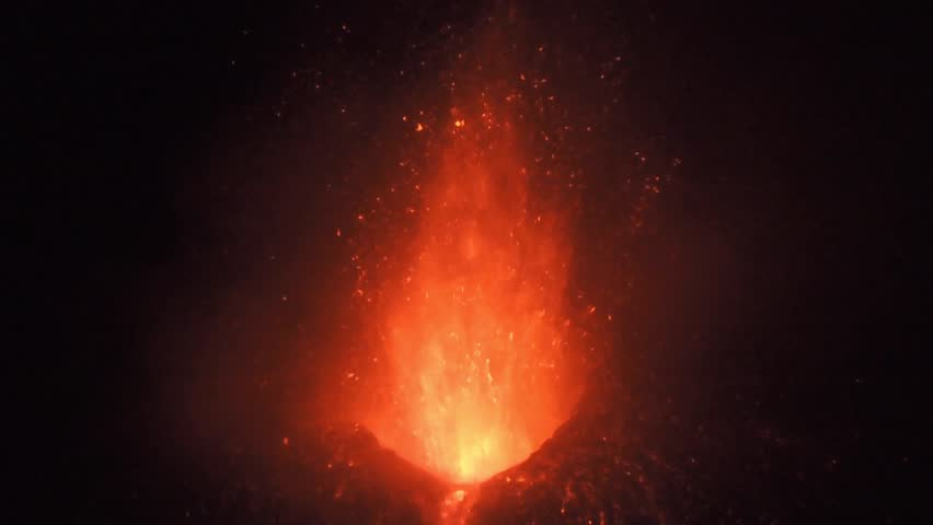 Volcano Mount Etna Eruption on 6 december 2015, in Sicily, Italy.