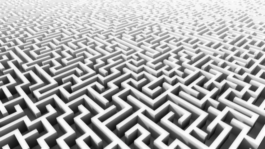 3d rising above huge endless maze
