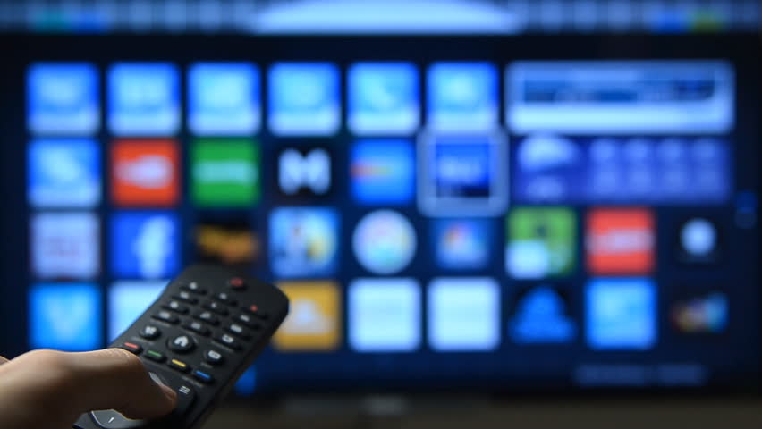 Smart tv with apps and hand. - HD stock video clip