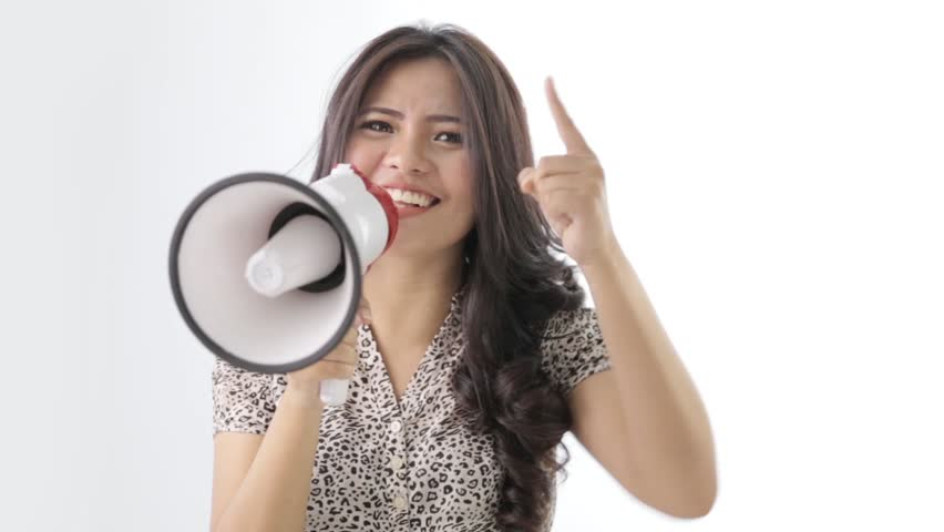 Resultado de imagem para young woman shouting through megaphone