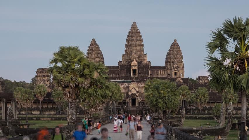 Cambodia - Nov 10: 4K UHD time-lapse of magnificent Prasat Bayon Temple in Angkor Thom, near Siem Reap, Cambodia. November 10, 2015 - 4K stock video clip