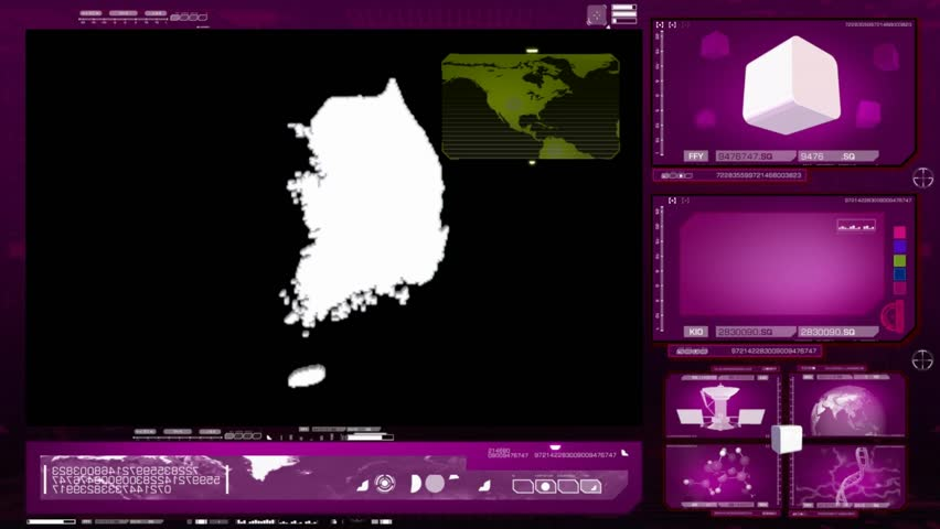 South Korea scanned by software - HD stock footage clip