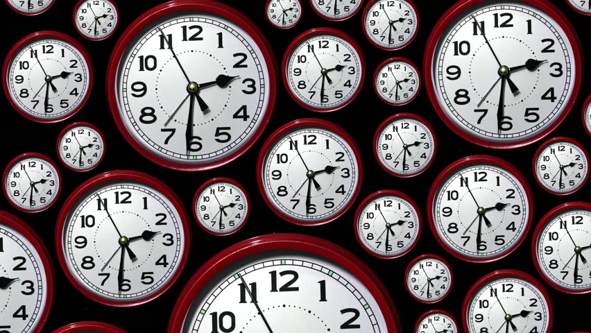 Track down over many time lapse clock faces all showing the same time but going backwards. Going back in time. Looking back.   Shutterstock HD Video #13349531
