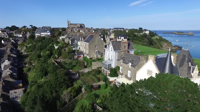 Cancale, french Britain,sea and city with drone 2 | Shutterstock HD Video #13351160