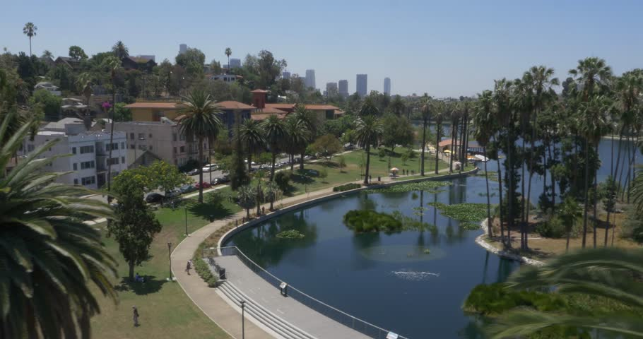 Aerial Shot of Echo Park in Los Angeles, California ( Los Angeles- July 2015) | Shutterstock HD Video #13356092