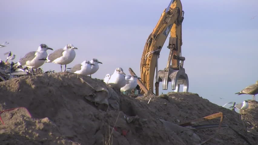 CIRCA 2010s - Huge piles of garbage and rubble are bulldozed in a junkyard following Hurricane Sandy.