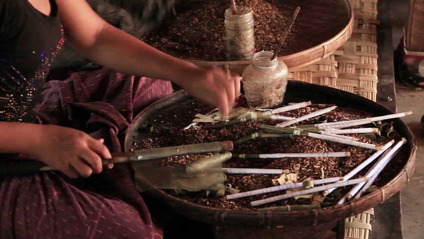 INLE, MYANMAR - MARCH 1, 2014: unidentified women make local cigars  in Inle, Myanmar on March 1, 2014. Inle Lake is famous for producing quality tobacco in Myanmar. - HD stock footage clip
