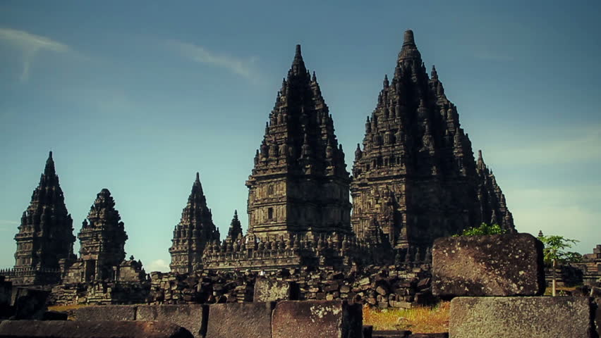 PRAMBANAN, the Most Beautiful Hindu Temple in the World. Dolly track shot