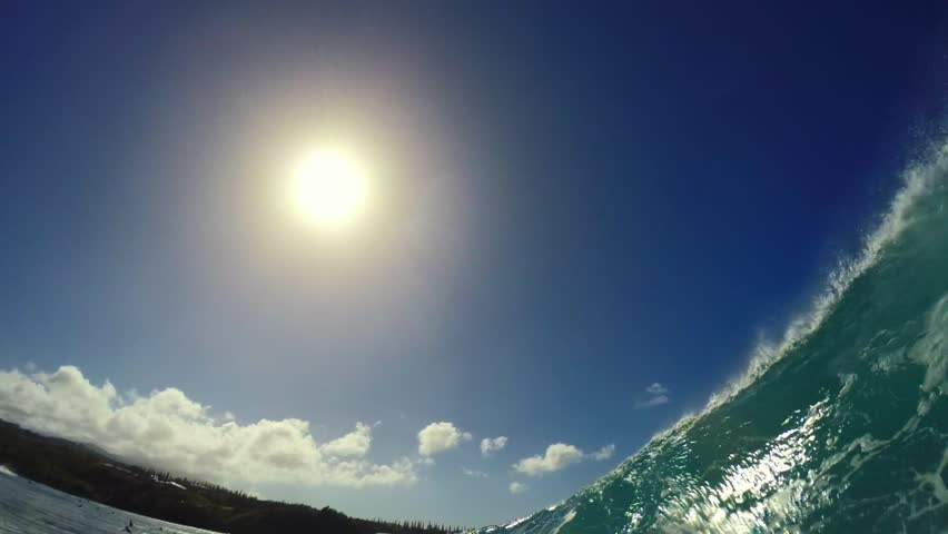 POV Surfing View Of Empty Ocean Wave Crashing. View from in the Barrel. Extreme Sport Slow Motion HD GOPRO