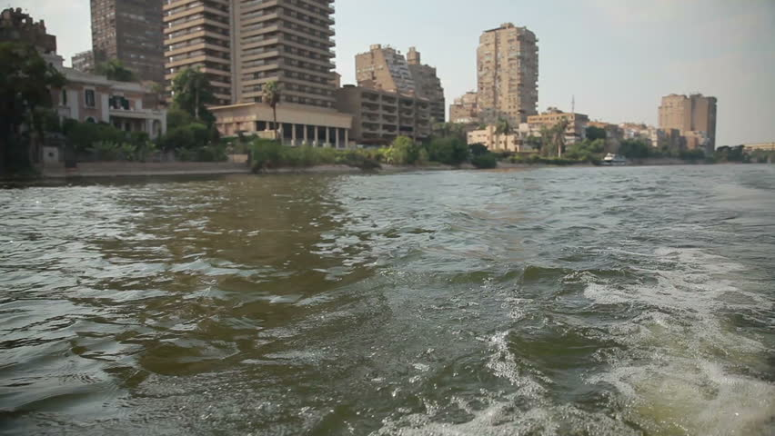 Cairo from the river Nile 01 - HD stock footage clip