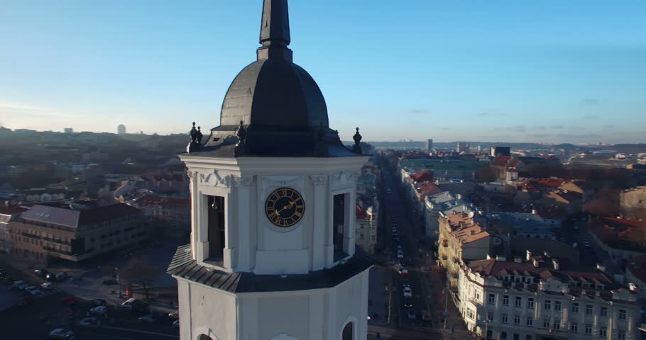 AERIAL. Smooth orbit flight around Vilnius Cathedral and Belfry Tower, Vilnius, Lithuania. 2015 winter