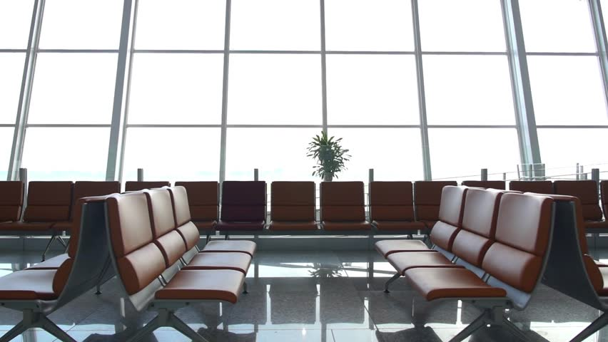 Empty Seats in Departure Lounge at the Airport. HD, 1920x1080.