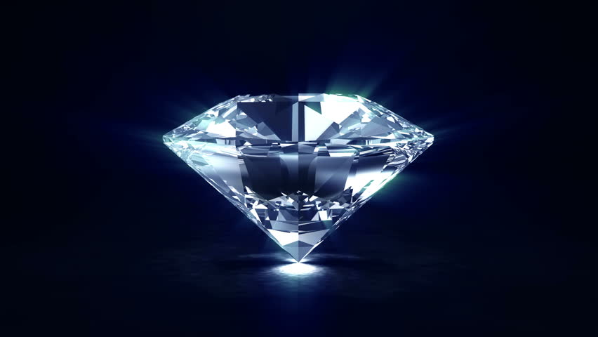 4K Seamless Looping Rotation Animation of Big Blue Diamond with Glowing Rays. 4K 3840x2160 Video Clip