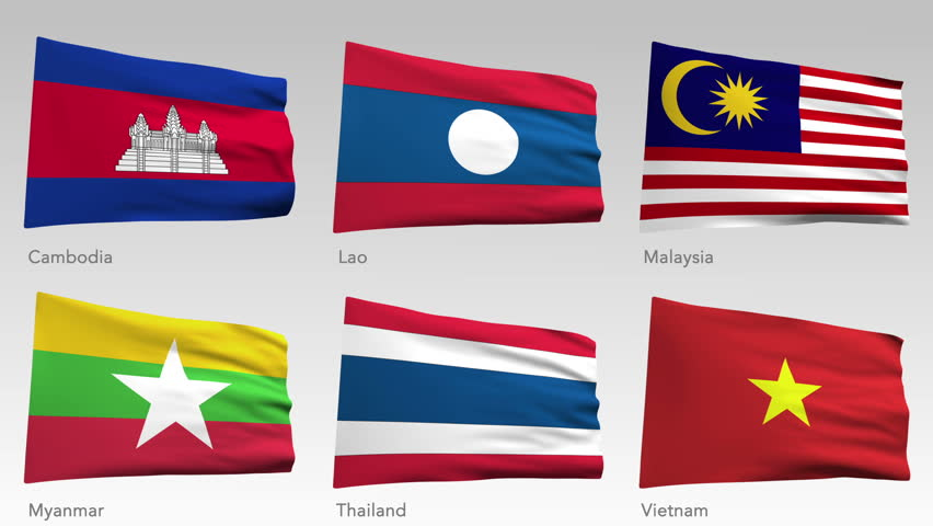 Animated flags of Asia with alpha channel, Cambodia, Lao, Malaysia, Myanmar, Thailand, Vietnam - HD stock video clip