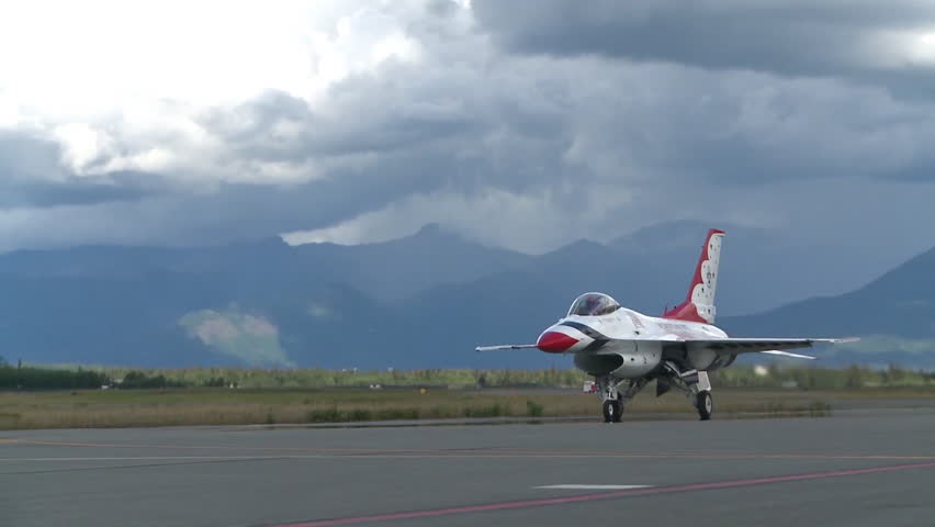 CIRCA 2010s - The U.S. Thunderbirds taxi on the runway at an airshow.