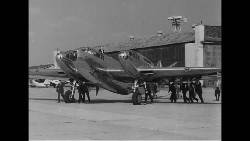 CIRCA 1930s - A new Air Force jet plane takes flight in 1939. - HD stock video clip