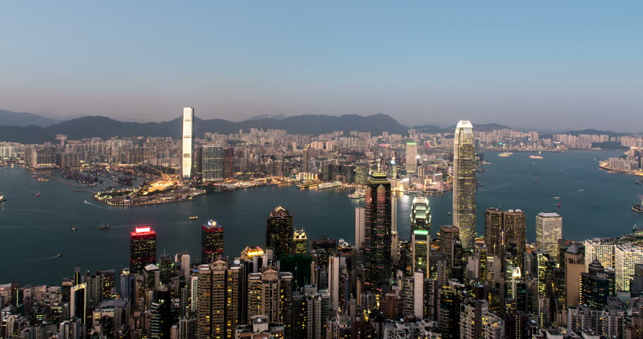 Clear sky time lapse of Hong Kong city from The peak | Shutterstock HD Video #13621259
