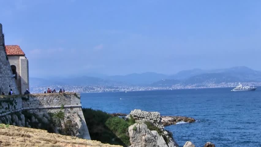 Bay at Antibes, Cote d'Azur, France. - HD stock video clip