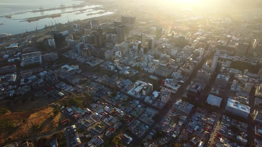 Cape Town Flying Over Buildings at Sunrise - 4K Drone Footage, South Africa
