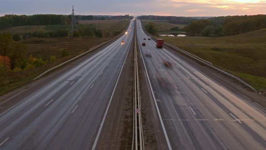 Cars traveling on the highway road in dusk, timelapse, 4k | Shutterstock HD Video #13760741