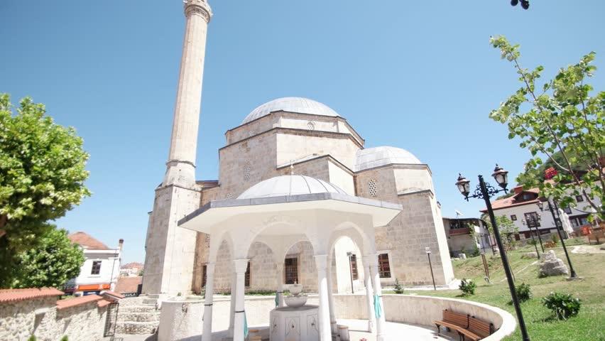 PRIZREN - KOSOVO, JULY 2015: View at the Sinan Pasha mosque in Prizren - 4K stock footage clip