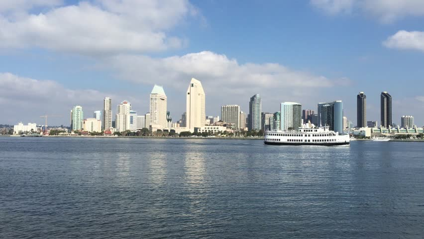 Skyline of San Diego downtown by day - HD stock footage clip