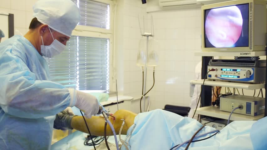 MOSCOW - SEP 1, 2015: Washing of knee joint in Center of endosurgical and lithotripsy
