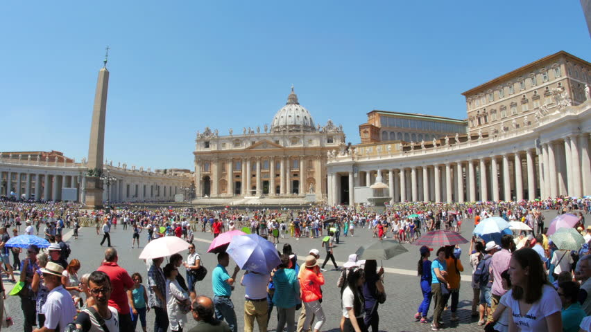 VATICAN CITY, AUGUST 2015: people visiting day time - 4K stock footage clip