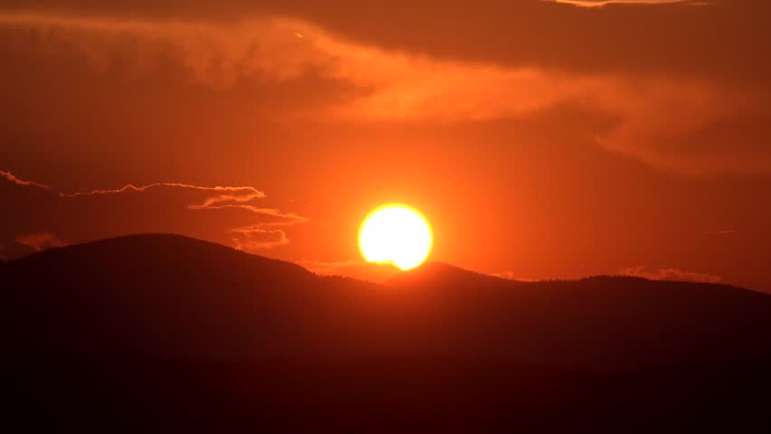 4K Sunset Time Lapse Mountains Sun Rays Clouds View Dramatic Sundown, Landscape - 4K stock footage clip