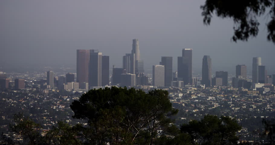 4K Los Angeles cityscape skyline, pan. Shot with RED DRAGON in 4K DCI native resolution. | Shutterstock HD Video #13979369