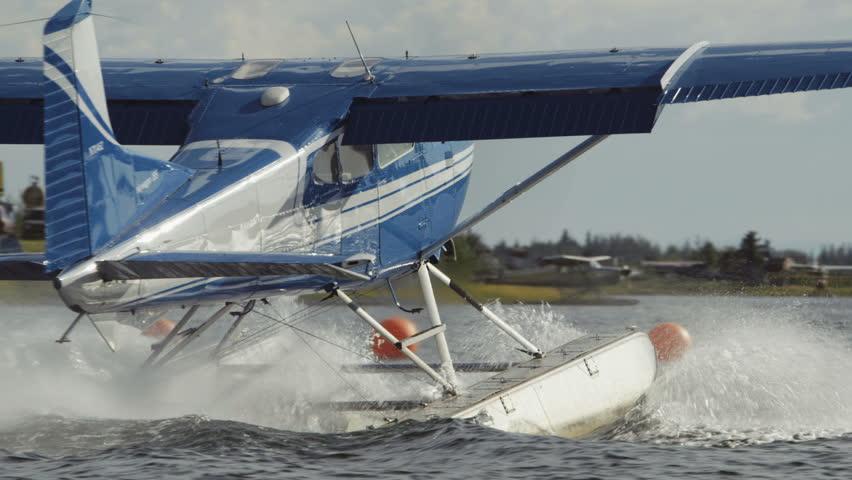 Fairbanks, Alaska, USA - JULY 2015. Float Plane Takes Off In Fairbanks International Airport. Canon C300. - HD stock video clip