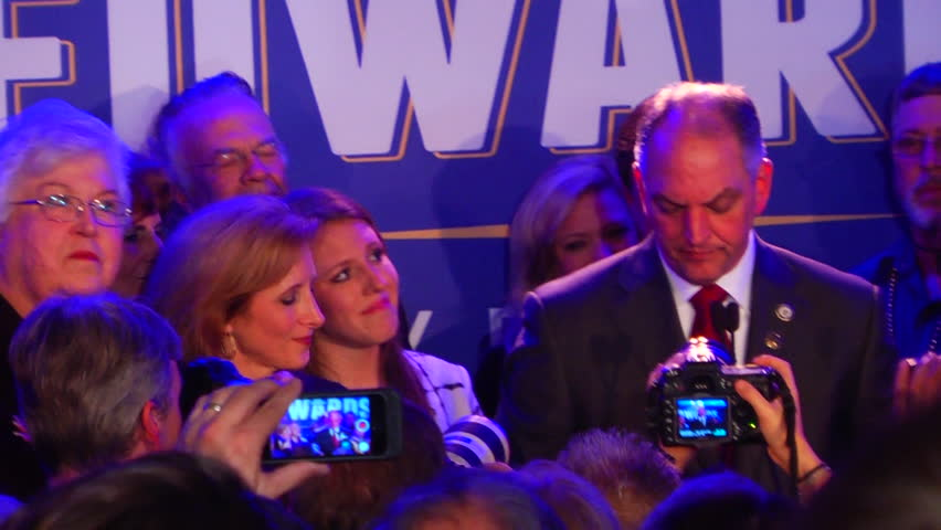 NEW ORLEANS, LA/USA - NOVEMBER 21, 2015: John Bel-Edwards (D) Speech. Louisiana's Governor-elect John Bel Edwards (D) celebrating his campaign victory at Monteleone Hotel. - HD stock footage clip