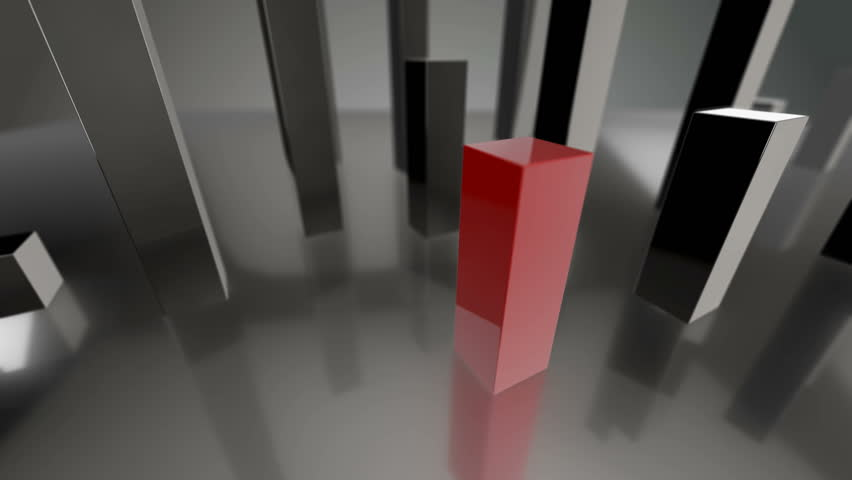 Seamless looping 3D animation of a blue and red bars diagram up to 0% and 100% including luma matte | Shutterstock HD Video #14079998