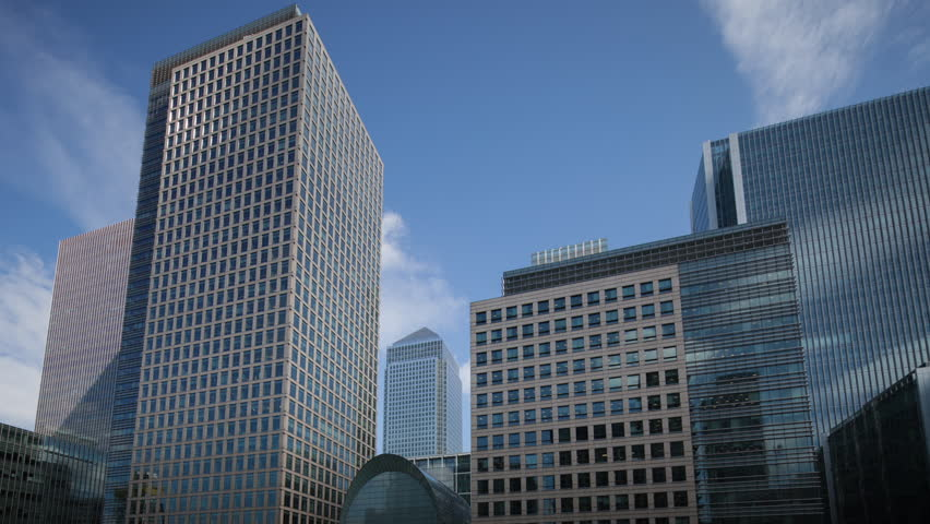 timelapse of the financial skyscrapers of london docklands, canary wharf from south quay