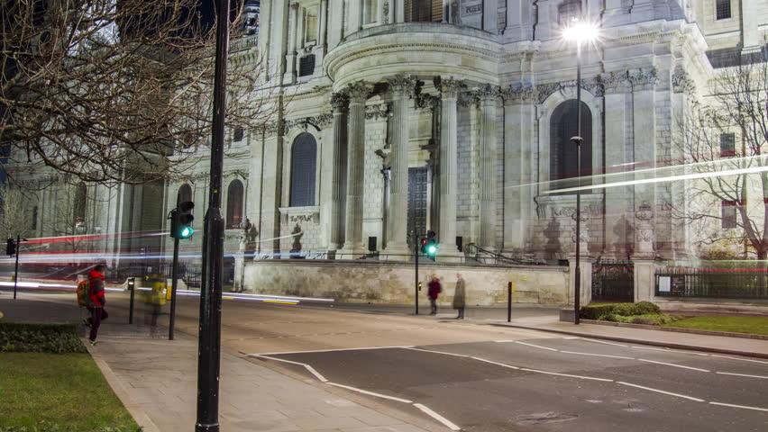 Hyperlapse of Saint Pauls London - 4K stock footage clip