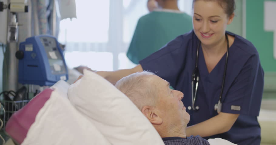 4k / Ultra HD version A beautiful female nurse attends to an elderly male patient, plumping up his pillows and chatting with him. Shot on RED Epic | Shutterstock HD Video #14129858