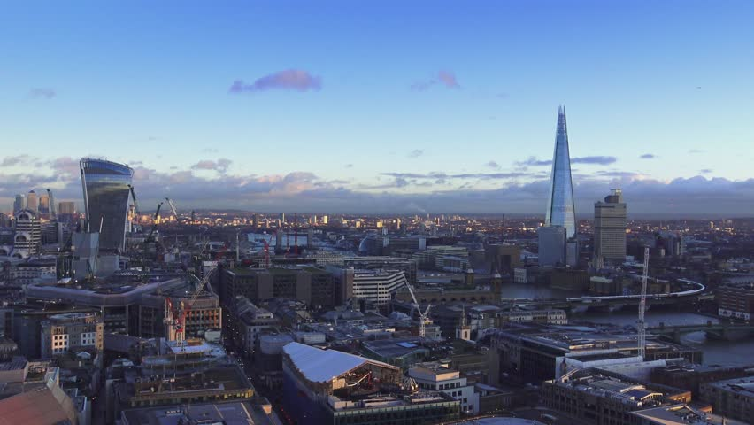 London - wide angle aerial shot 15th january 2016 | Shutterstock HD Video #14130416
