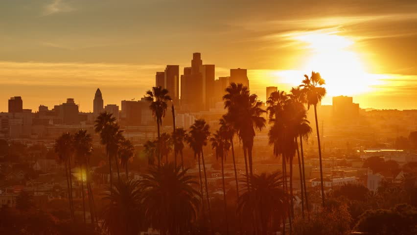 Beautiful sunset to night transition over city of Los Angeles downtown skyline with palm trees in foreground. 4K UHD timelapse.   Shutterstock HD Video #14134718