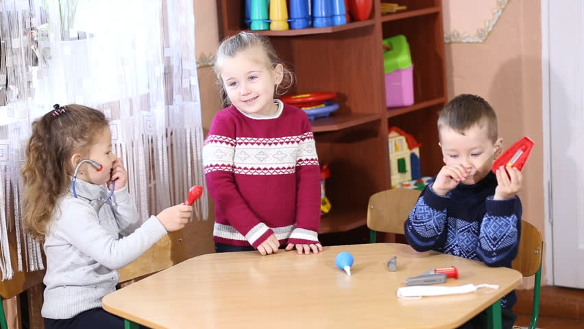 children play doctor - HD stock footage clip